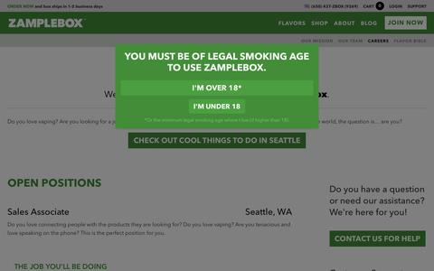 Screenshot of Jobs Page zamplebox.com - Passionate About Vaping? We are Hiring Vapers in Seattle! - captured Nov. 26, 2015