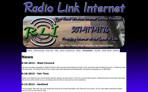 Screenshot of Press Page radiolinkinternet.com - RLI - Radio Link Internet, WISP - captured Sept. 20, 2018