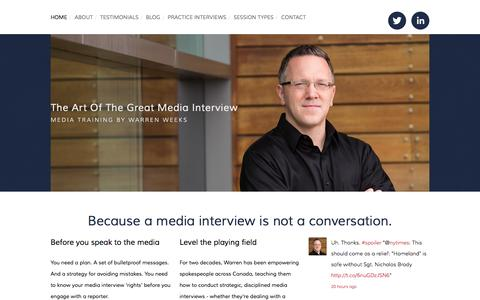 Screenshot of Home Page mediatrainingtoronto.com - The Art of the Great Media Interview - captured Oct. 6, 2014