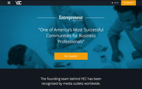 Screenshot of Home Page yec.co - Home - YEC // Young Entrepreneur Council - captured Dec. 19, 2015