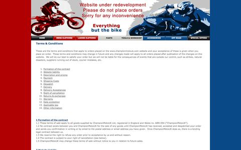 Screenshot of Terms Page championmotouk.com - Terms for the purchase of motorcycle clothing, parts & accessories from ChampionMotoUK - captured Oct. 4, 2014