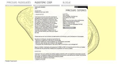Screenshot of Services Page audiotopie.com - Parcours sonores | Audiotopie - captured Sept. 30, 2014