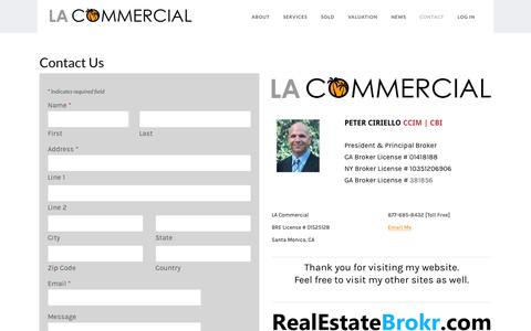 Screenshot of Contact Page lacommercialcorp.com - Los Angeles Commercial - Contact Peter Ciriello CCIM - LA Commercial - captured Nov. 21, 2018