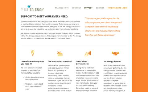 Screenshot of Support Page yesenergy.com - Support — Yes Energy - captured Dec. 11, 2018