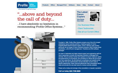 Screenshot of Home Page profileoffice.co.uk - Canon Photocopiers   Canon Printers   Canon Copiers   London   South East - captured Sept. 30, 2018