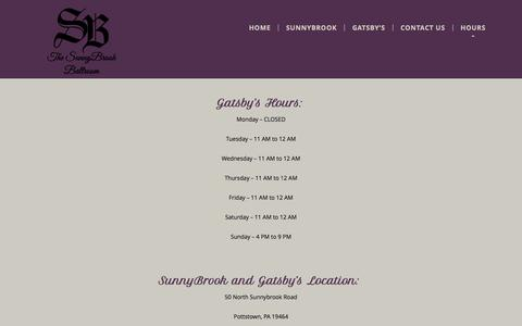 Screenshot of Hours Page thesunnybrook.com - Hours and Location for The SunnyBrook - captured March 11, 2016