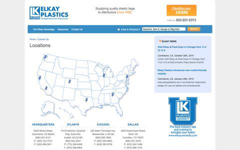 Screenshot of Locations Page elkayplastics.com - Locations | Elkay Plastics - captured Nov. 4, 2014