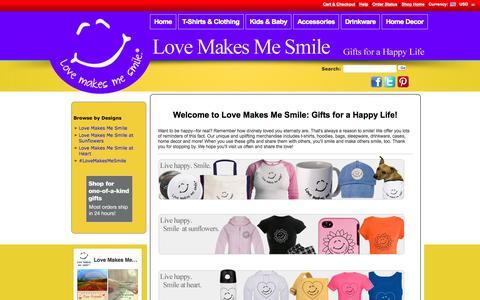 Screenshot of cafepress.com - Love Makes Me Smile: Gifts for a Happy Life - captured Sept. 19, 2015