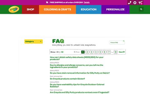 Screenshot of FAQ Page crayola.com - FAQ | crayola.com - captured Feb. 23, 2017
