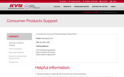 Screenshot of Support Page kyb.com - KYB Americas |   Consumer Products Support - captured June 25, 2017
