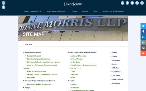 Screenshot of Site Map Page duanemorris.com - Duane Morris LLP - Site Map - captured Oct. 9, 2017