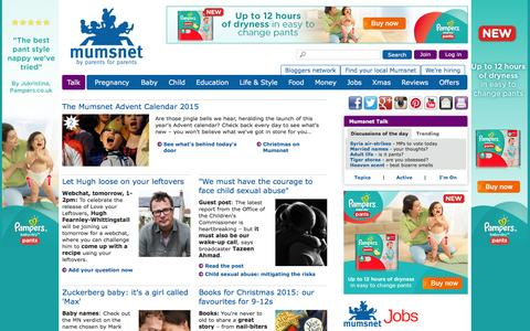 Screenshot of Home Page mumsnet.com - Mumsnet | Parenting advice, support and chat | Mumsnet - captured Dec. 2, 2015