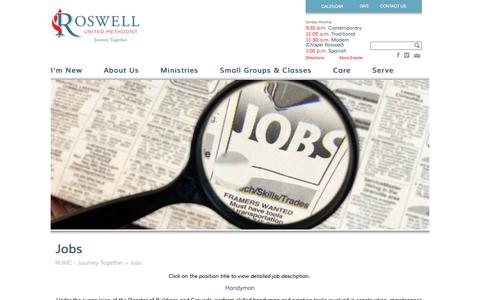 Screenshot of Jobs Page rumc.com - Jobs - RUMC - Journey Together RUMC – Journey Together - captured Feb. 15, 2016