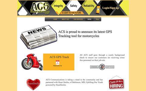 Screenshot of Press Page acscommunications.com - acs-comm | NEWS - captured Oct. 2, 2018