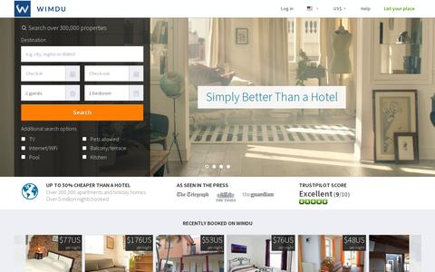 Screenshot of Home Page wimdu.com - Apartments & Holiday Rentals - Wimdu.com - captured July 11, 2014