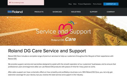 Screenshot of Support Page rolanddg.com.au - Service and Support | Roland DG Australia - captured Nov. 13, 2017