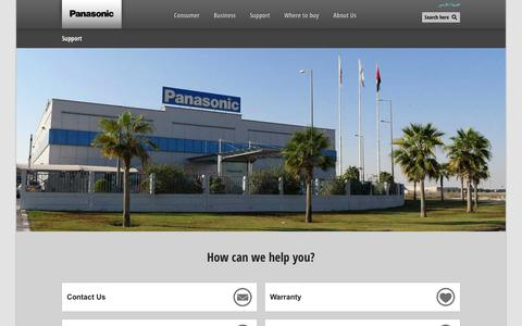 Screenshot of Support Page panasonic.com - Support - Panasonic - captured Jan. 31, 2018