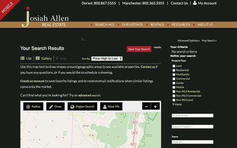 Screenshot of Maps & Directions Page josiahallen.com - Southern VT Real Estate | Map Search | Josiah Allen Real Estate - captured Oct. 16, 2017