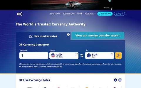 Screenshot of Home Page xe.com - XE - The World's Trusted Currency Authority: Money Transfers & Free Exchange Rate Tools - captured Feb. 15, 2020
