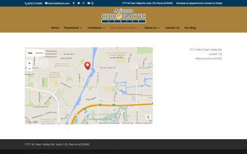 Screenshot of Maps & Directions Page drkoch.com - Map - Arizona Chiropractic Center - Dr Chris Koch - captured Feb. 6, 2016