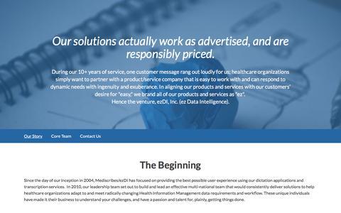 Screenshot of About Page ezdi.com - About Us - ezDI - captured July 19, 2019