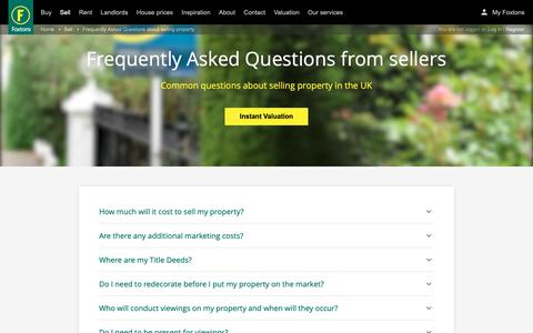 Screenshot of FAQ Page foxtons.co.uk - Frequently Asked Questions about selling property - Foxtons - captured April 28, 2019