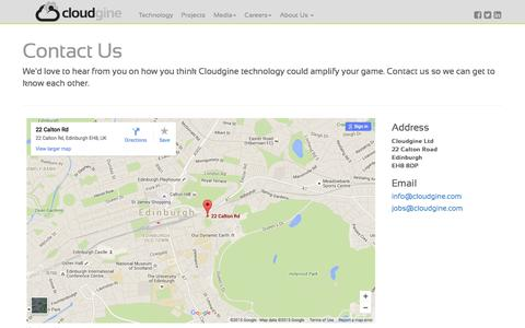 Screenshot of Contact Page cloudgine.com - Contact Us - Cloudgine - captured Dec. 9, 2015