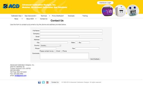 Screenshot of Contact Page goacd.com - ACD calibration gas - contact us - captured Oct. 4, 2014