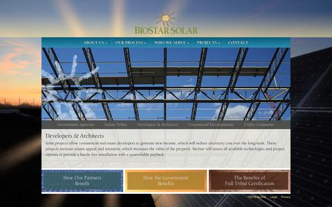 Screenshot of Developers Page biostarsolar.com - Developers & Architects | BioStar Solar - captured March 27, 2016