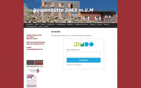 Screenshot of Login Page dossenhuette.ch - Anmelden - dossenhuette - captured June 11, 2016