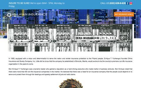 Screenshot of About Page malayan.com - History - Malayan Insurance - captured July 18, 2019