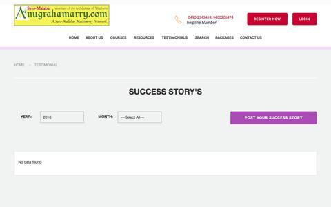 Screenshot of Testimonials Page anugrahamarry.com - Anugrahamarry  | Archdiocese of Tellicherry Matrimony Service-Success Stories in Syro-Malabar Matrimony - Catholic Matrimony, Christian Matrimony, Kerala Catholic Matrimonial - captured Jan. 31, 2018
