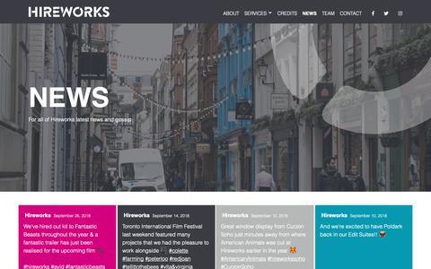 Screenshot of Press Page hireworks.tv - News - Hireworks - captured Sept. 28, 2018