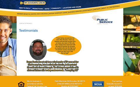 Screenshot of Testimonials Page pscunow.com - TESTIMONIALS - captured Nov. 2, 2014
