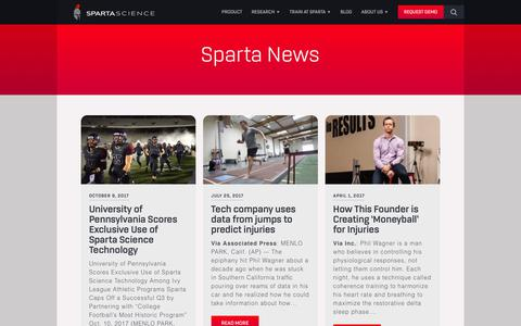 Screenshot of Press Page spartascience.com - High Performance Sports Training | Sparta Science In The News - captured Oct. 26, 2017