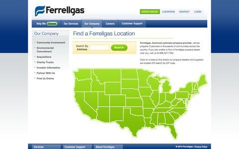 Screenshot of Locations Page ferrellgas.com - Ferrellgas, Your Propane Gas Company - Propane Dealer Locations - captured Oct. 31, 2014