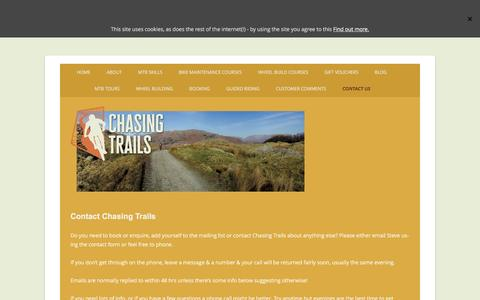 Screenshot of Contact Page chasingtrails.com - Contact Chasing Trails by email or phone - captured May 16, 2017