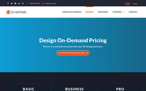 Screenshot of Pricing Page zverse.com - Pricing   ZVerse 3D Solutions - captured Nov. 16, 2018