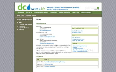 Screenshot of Press Page dcwater.com - News - DC Water - District of Columbia Water and Sewer Authority - captured Sept. 23, 2014