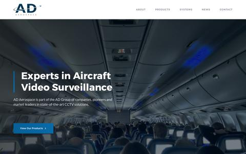 Screenshot of Home Page ad-aero.com - AD Aerospace | Experts in Aircraft Video Surveillance - captured Oct. 2, 2018
