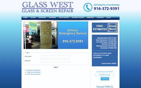 Screenshot of Login Page glasswest.com - Login - captured Nov. 2, 2014