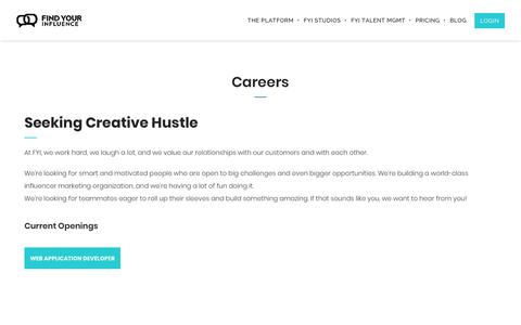 Screenshot of Jobs Page findyourinfluence.com - Careers - Find Your Influence | We Make Influencer Marketing Easy - captured Feb. 15, 2019