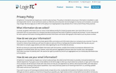 Screenshot of Privacy Page logintc.com - LoginTC - Privacy Policy - captured Oct. 3, 2014