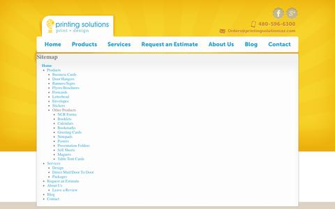 Screenshot of Site Map Page printingsolutionsaz.com - Sitemap - Printing Solutions - captured Sept. 30, 2014