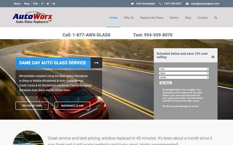 Screenshot of Home Page awautoglass.com - Windshield & Auto Glass Replacement by AutoWorx Auto Glass Replacers - captured Oct. 4, 2018
