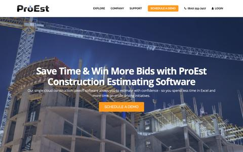 Screenshot of Home Page proest.com - Construction Estimating Software | Takeoff Software | ProEst - captured Sept. 29, 2018