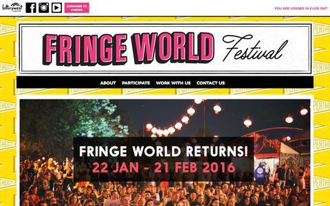 Screenshot of Home Page fringeworld.com.au - FRINGE WORLD Festival - captured Oct. 12, 2015
