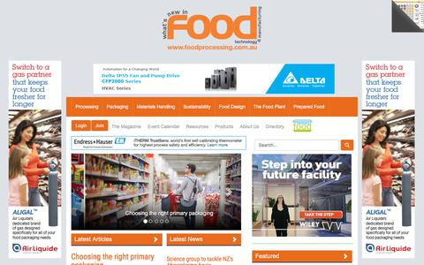 Screenshot of Home Page foodprocessing.com.au - FoodProcessing: industry news, comment, feature articles, case studies and new products - captured Aug. 16, 2018