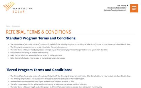 Screenshot of Terms Page bakerelectricsolar.com - Referral Terms & Conditions | Baker Electric Solar - captured May 6, 2016