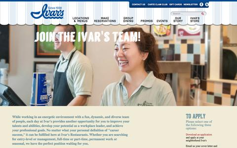 Screenshot of Jobs Page ivars.com - CAREERS | Ivar's - captured Sept. 27, 2017